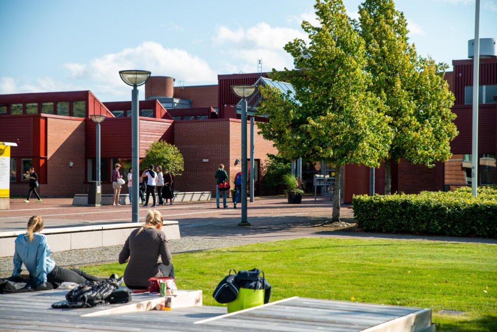 Solig dag på campus vid K-Huset