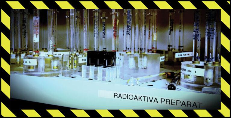 Bild på radioaktiva preparat med skyddstejp runt