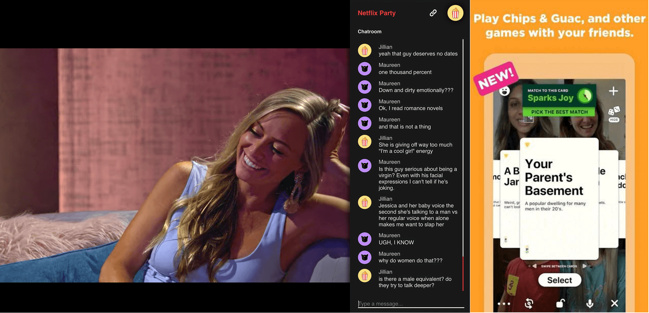 Tillägget Netflix party och appen Houseparty