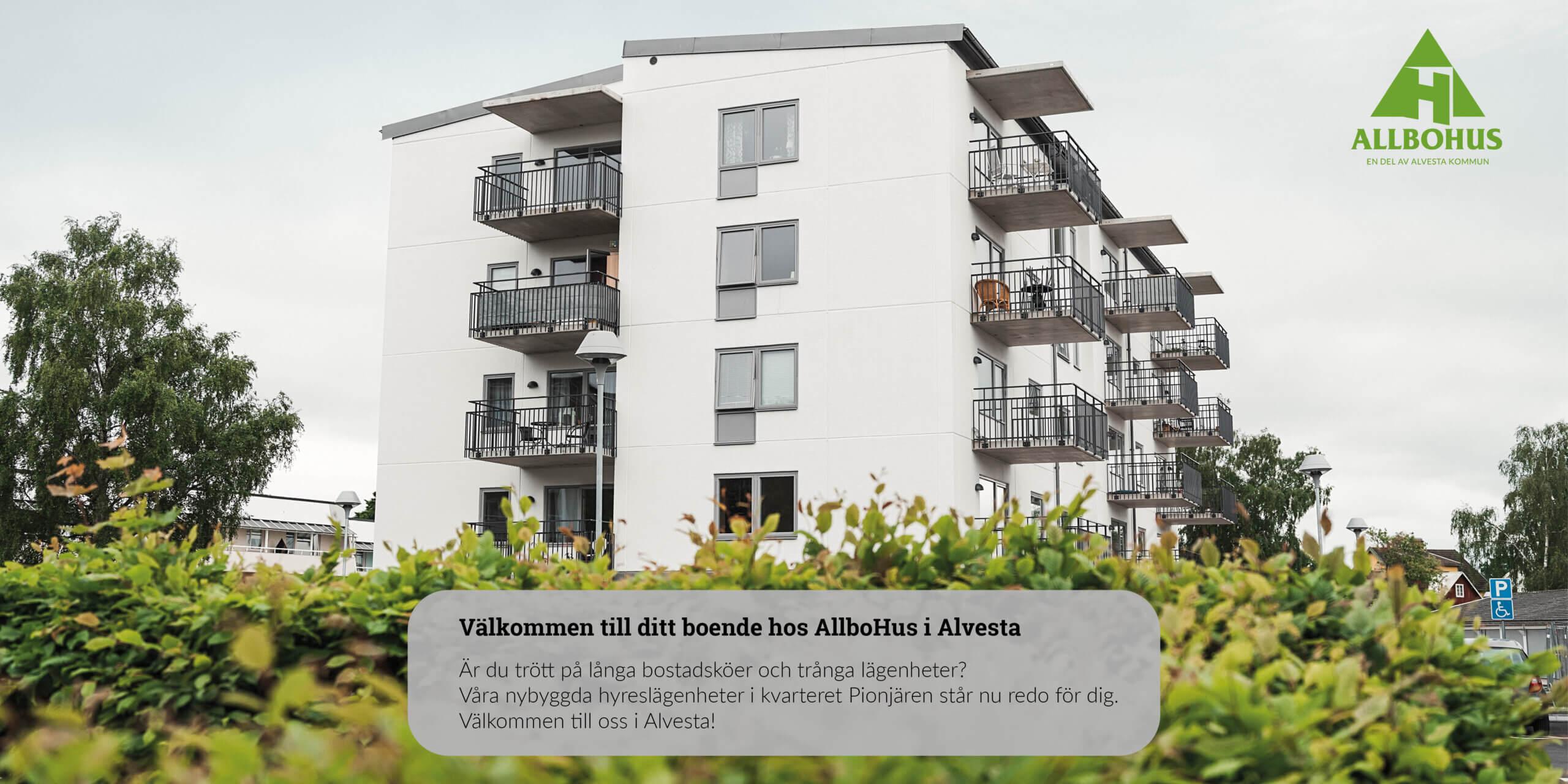 Är du trött på långa bostadsköer och trånga lägenheter? Välkommen att ansöka om lägenhet i Alvesta hos oss på Allbohus. Vi öppnar nu upp ett nytt område, Kv. Pionjären, med 55 välplanerade lägenheter fördelade på fem våningar i storlekarna 1-3 rok. Våra lägenheter ligger endast 10–20 minuter pendlingstid från Växjö med flera avgångar i timmen via buss och tåg.